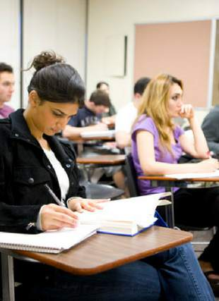 Photograph of students in class