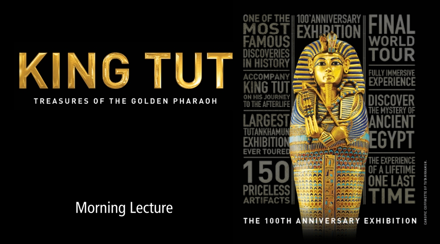 Image of King Tut logo and artifact from California Science Center exhibit