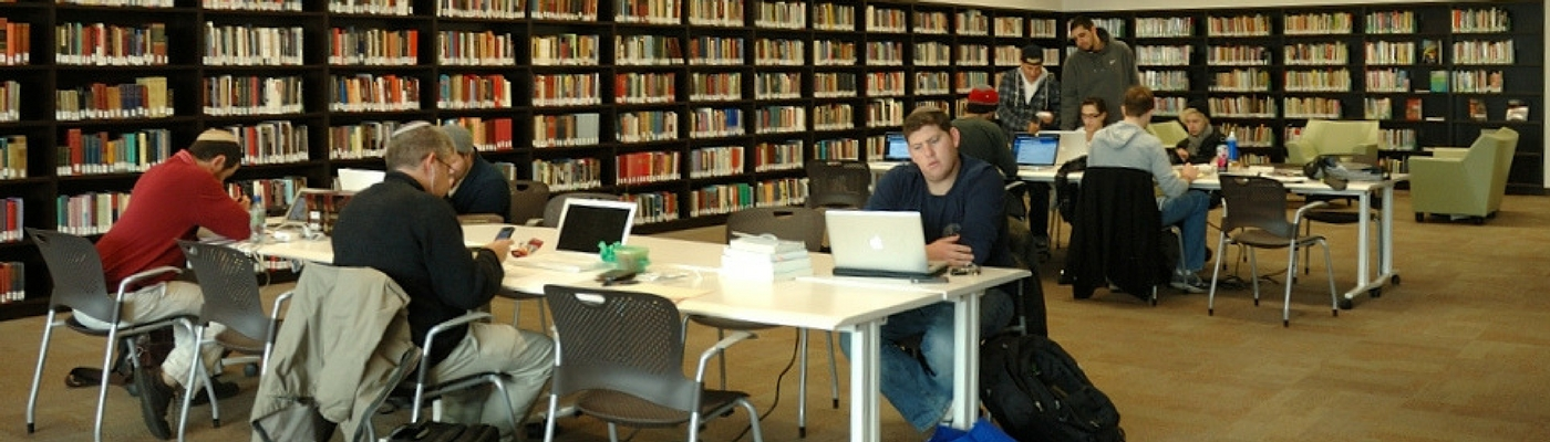 Picture of AJU students studying in library