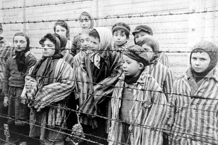 Photograph of child survivors of Auschwitz