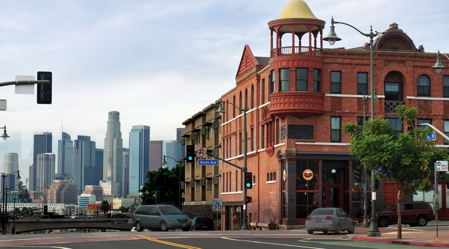 Image of street corner in Boyle Heights