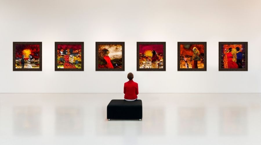 person sitting in a gallery