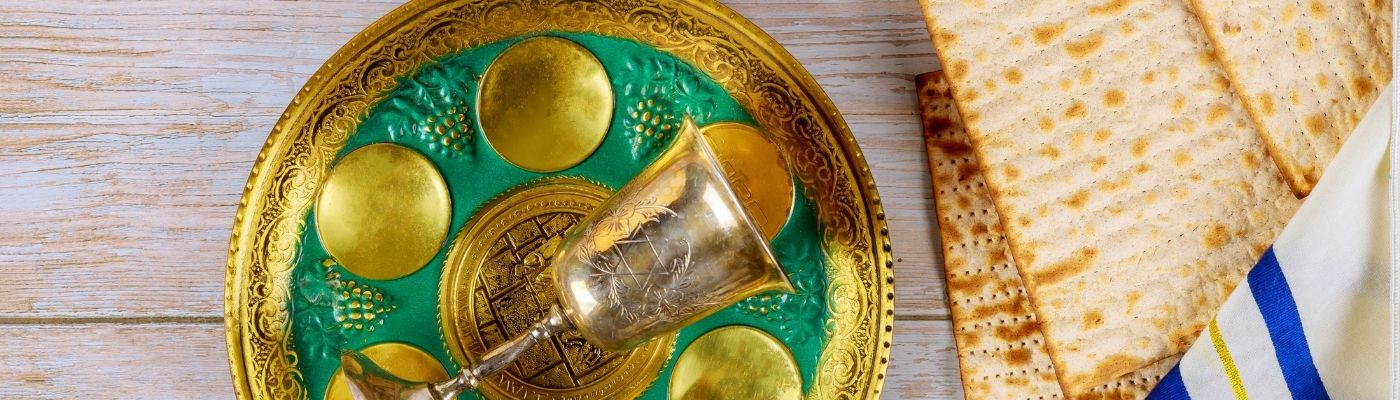 Photo of seder plate and matzah