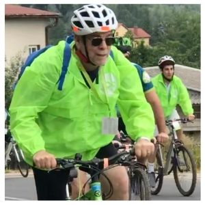 Dr. Berenbaum riding through Poland for Ride of the Living