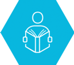 Infographic of person with book